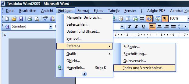 Abbildungsverzeichnis word 2003 fragesaetze englisch