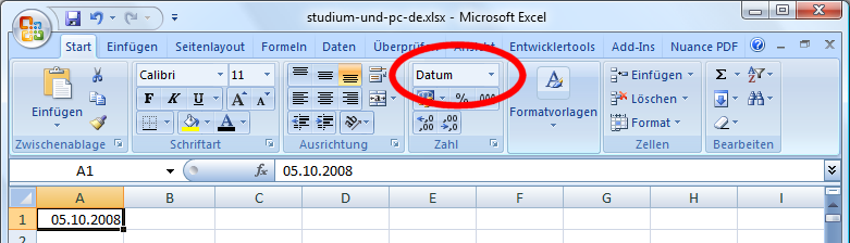 in excel 2007 zahlen text betr ge und datum effektiv erfassen. Black Bedroom Furniture Sets. Home Design Ideas