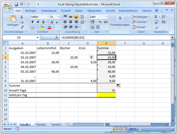 Excel Formeln Rechnen