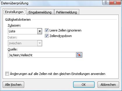 Vorgaben für Eingabefelder erstellen in Excel 2007