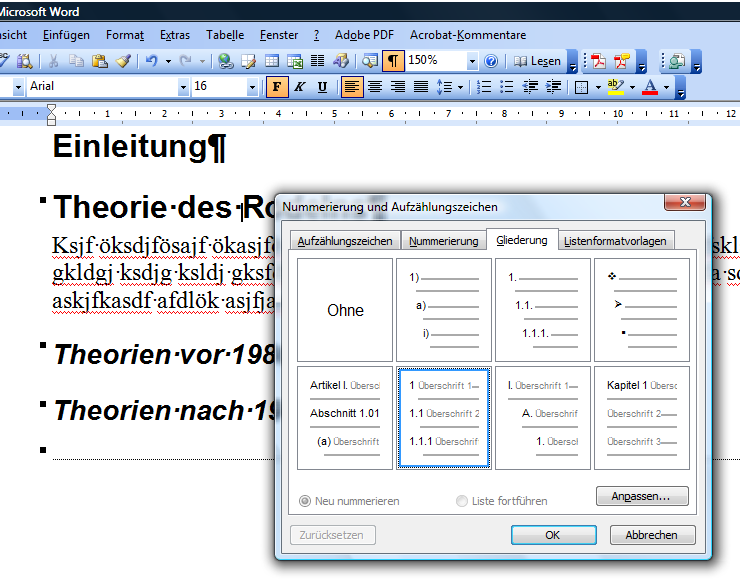Word formatvorlage nummerierung medien arbeit