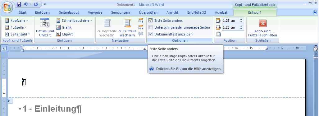Kopfzeile Und Fußzeile In Word 2010