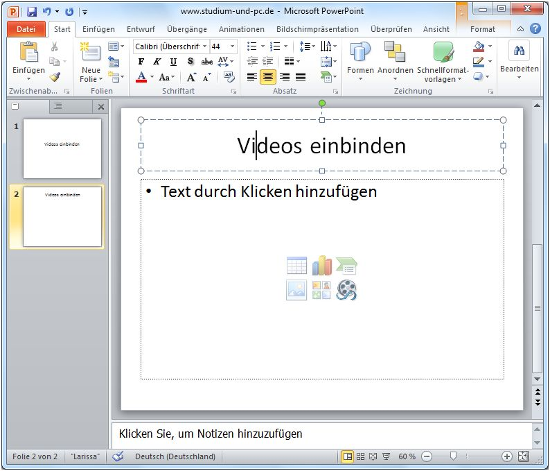 Videos einfügen in PowerPoint 2010
