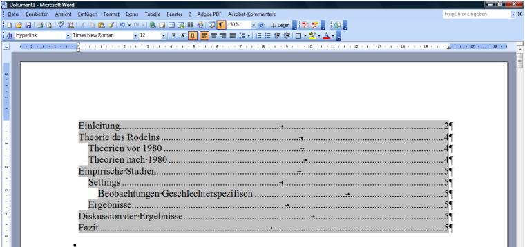 automatisches inhaltsverzeichnis mit word
