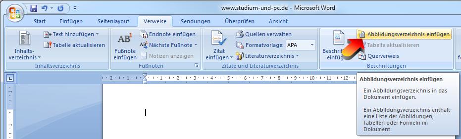 Tabellenverzeichnis word 2007 master oder arbeiten bwl