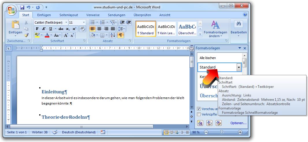 Formatvorlagen anpassen in Word 2007
