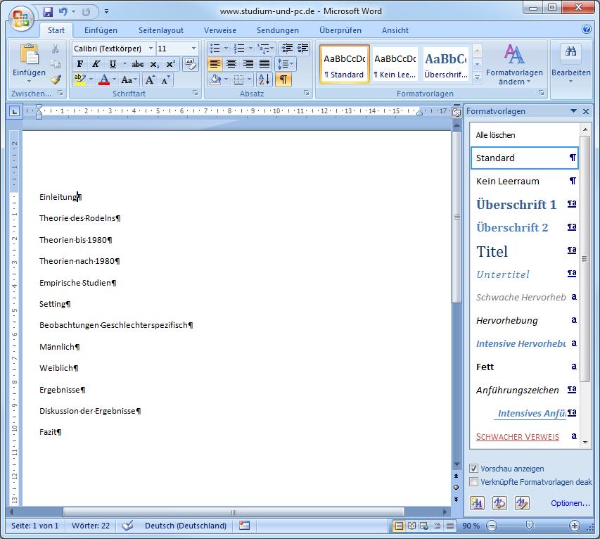 inhaltsverzeichnis word vorlage