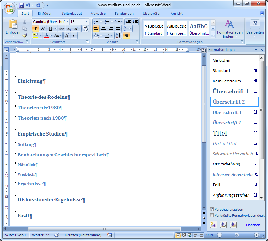Formatvorlagen in Word für Inhaltsverzeichnis, Design und Layout