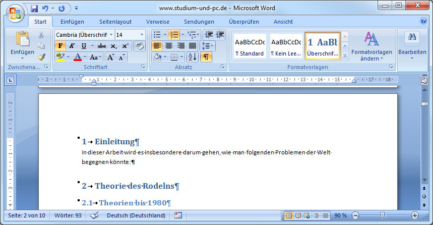 Word Gliederung - automatisches Gliedern (Nummerieren) von Überschriften