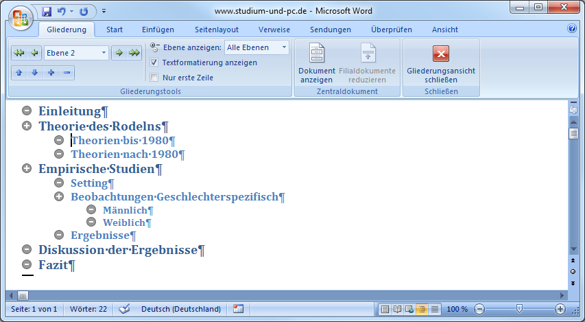 Gliederungsansicht in Word 2007