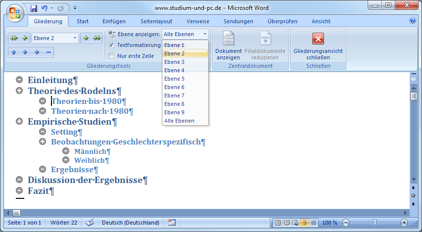 Formatvorlagen Brief Word Inhaltsverzeichnis Erstellen
