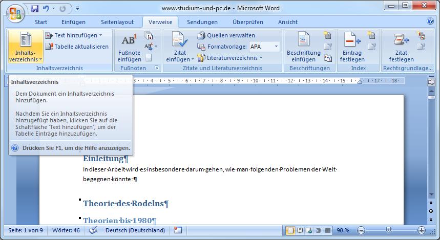 Inhaltsverzeichnis word 2007 elternbrief vorlage
