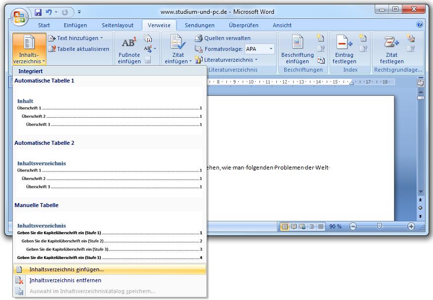 Inhaltsverzeichnis erstellen word 2007 bachelorarbeit zwischenfazit schreiben