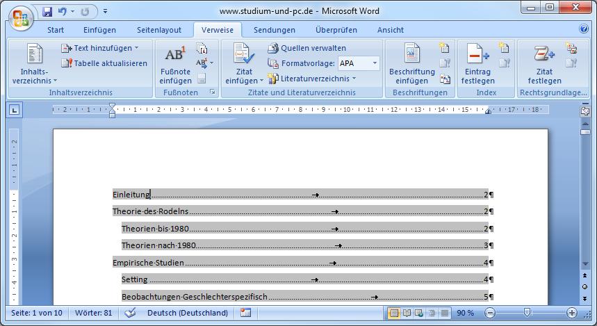 Microsoft word inhaltsverzeichnis erstellen arbeiten nur mit bachelor