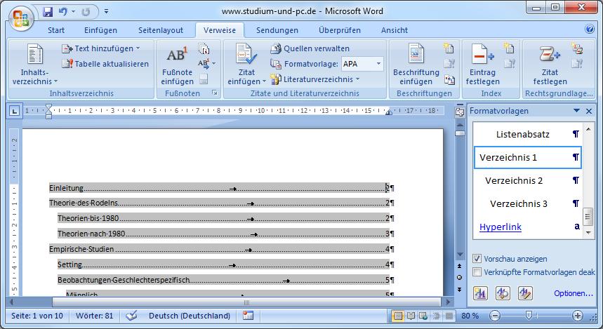 Inhaltsverzeichnis erstellen - Abfallprodukt der Formatvorlagen