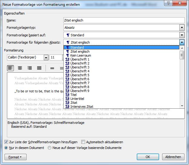 Formatvorlagen anpassen in Microsoft Word 2010