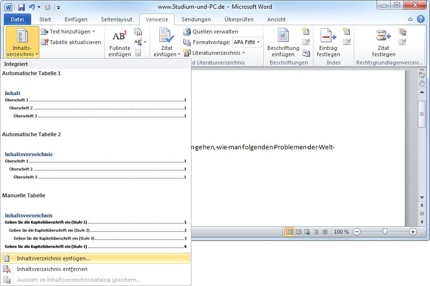 Inhaltsverzeichnis Automatisch Erstellen Lassen Von Word