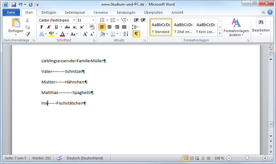 tabulator in word 2010