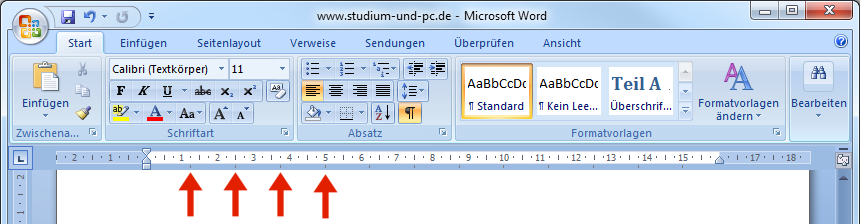 voreingestellte Tabulatorbreiten in Word